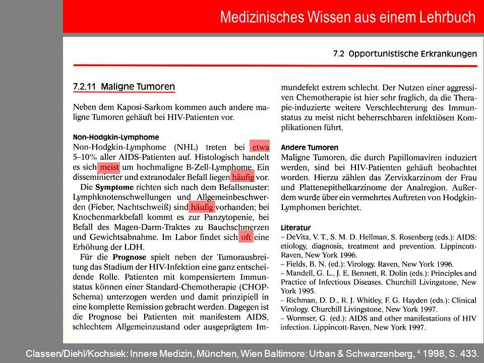 Classen/Diehl/Kochsiek: Innere Medizin, München, Wien Baltimore: Urban & Schwarzenberg, 4 1998, S. 433. Medizinisches Wissen aus einem Lehrbuch