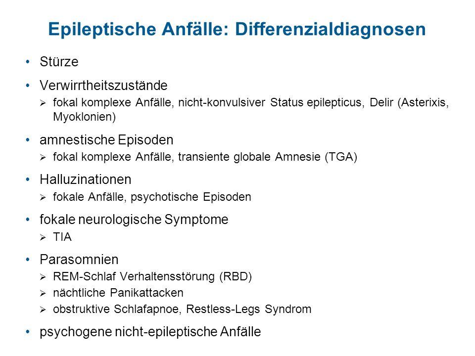 Epileptische Anfälle: Differenzialdiagnosen Stürze Verwirrtheitszustände fokal komplexe Anfälle, nicht-konvulsiver Status epilepticus, Delir (Asterixi