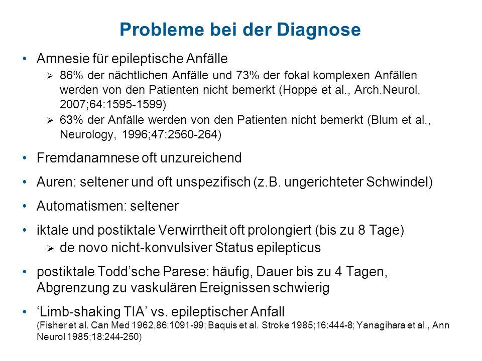 Probleme bei der Diagnose Amnesie für epileptische Anfälle 86% der nächtlichen Anfälle und 73% der fokal komplexen Anfällen werden von den Patienten n