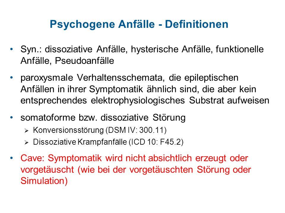 Psychogene Anfälle - Definitionen Syn.: dissoziative Anfälle, hysterische Anfälle, funktionelle Anfälle, Pseudoanfälle paroxysmale Verhaltensschemata,
