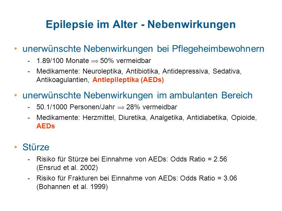 Epilepsie im Alter - Nebenwirkungen unerwünschte Nebenwirkungen bei Pflegeheimbewohnern -1.89/100 Monate 50% vermeidbar -Medikamente: Neuroleptika, An
