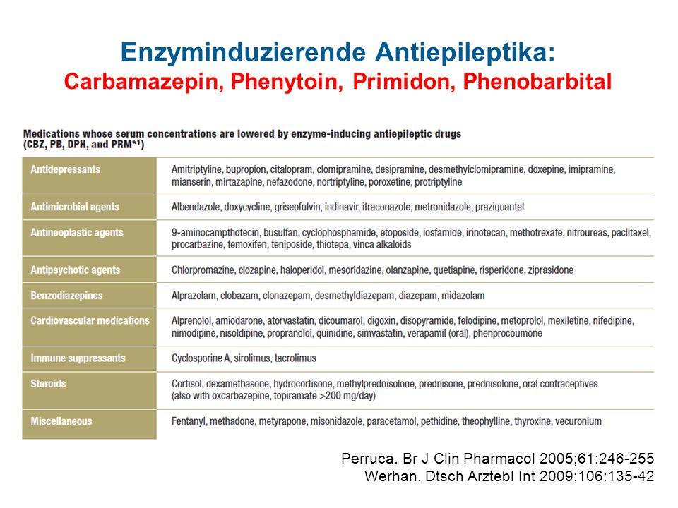 Enzyminduzierende Antiepileptika: Carbamazepin, Phenytoin, Primidon, Phenobarbital Perruca. Br J Clin Pharmacol 2005;61:246-255 Werhan. Dtsch Arztebl