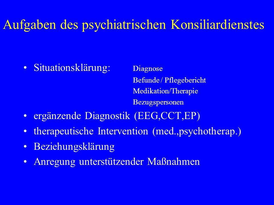Aufgaben des psychiatrischen Konsiliardienstes Situationsklärung: Diagnose Befunde / Pflegebericht Medikation/Therapie Bezugspersonen ergänzende Diagnostik (EEG,CCT,EP) therapeutische Intervention (med.,psychotherap.) Beziehungsklärung Anregung unterstützender Maßnahmen
