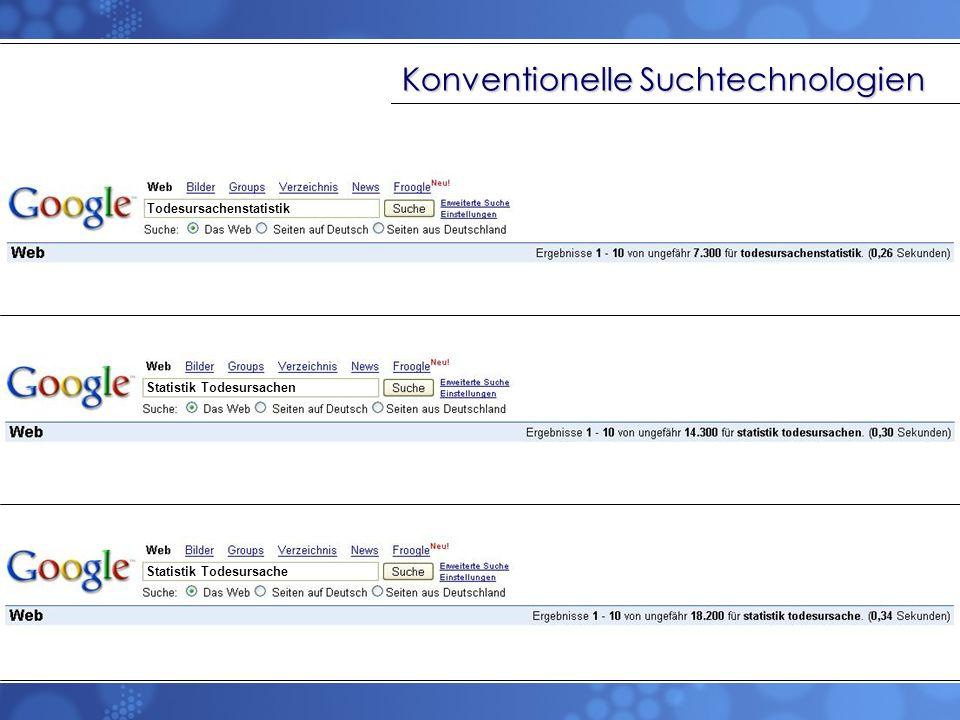TF/IDF: Term-Frequenz/Inverse Dokument- Frequenz Prinzip: statistische Ermittlung der Wichtigkeit von einzelnen Wörtern Prämisse: Wörter, welche in einem Dokument häufig, in anderen aber sehr selten sind, sind gute Deskriptoren des Dokumenteninhalts Termhäufigkeiten zum Relevanz-Ranking