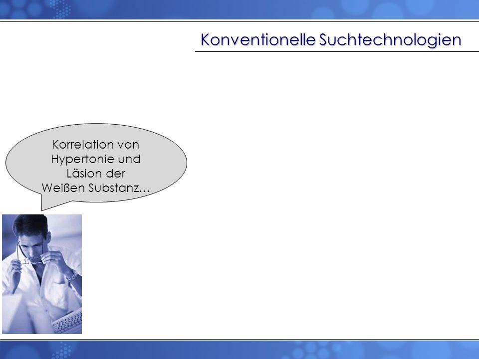 Konventionelle Suchtechnologien Korrelation von Hypertonie und Läsion der Weißen Substanz…