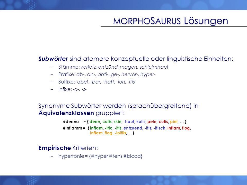 MORPHO S AURUS Lösungen Subwörter sind atomare konzeptuelle oder linguistische Einheiten: –Stämme: verletz, entzünd, magen, schleimhaut –Präfixe: ab-,