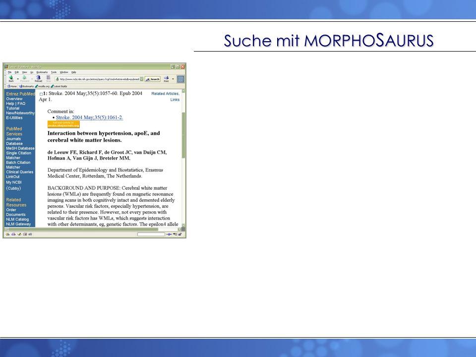 Suche mit MORPHO S AURUS