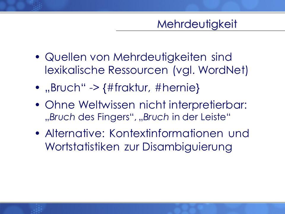 Mehrdeutigkeit Quellen von Mehrdeutigkeiten sind lexikalische Ressourcen (vgl. WordNet) Bruch -> {#fraktur, #hernie} Ohne Weltwissen nicht interpretie