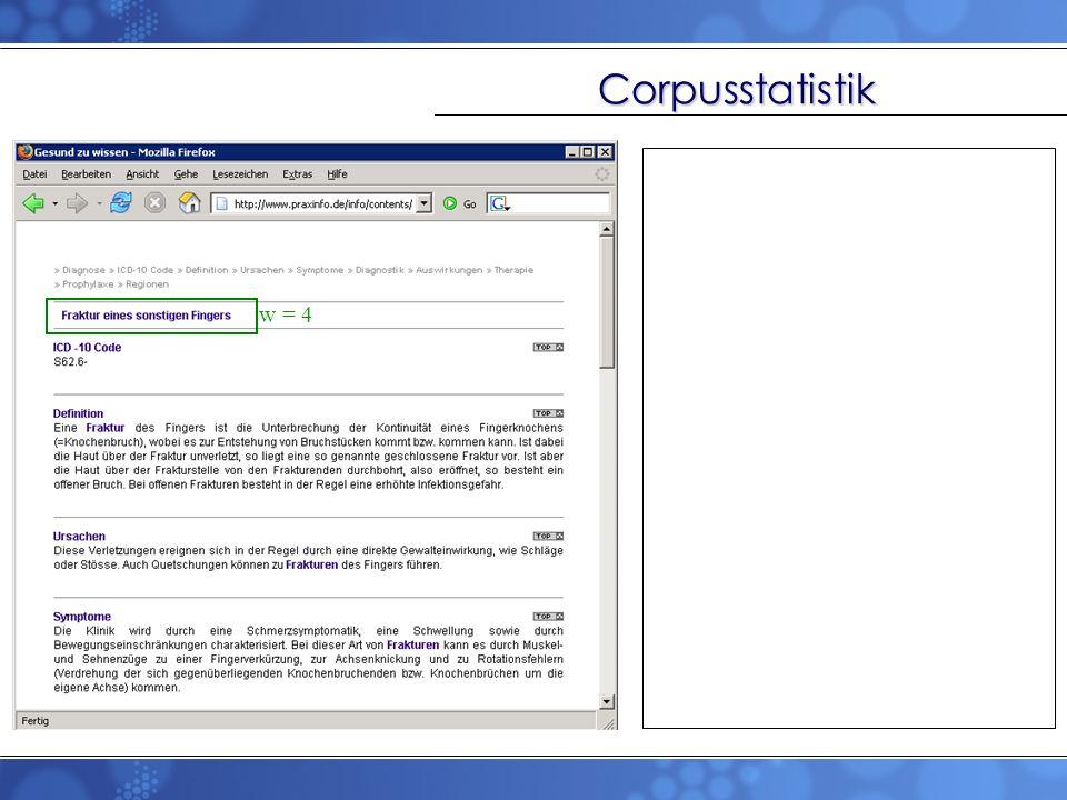Corpusstatistik w = 4