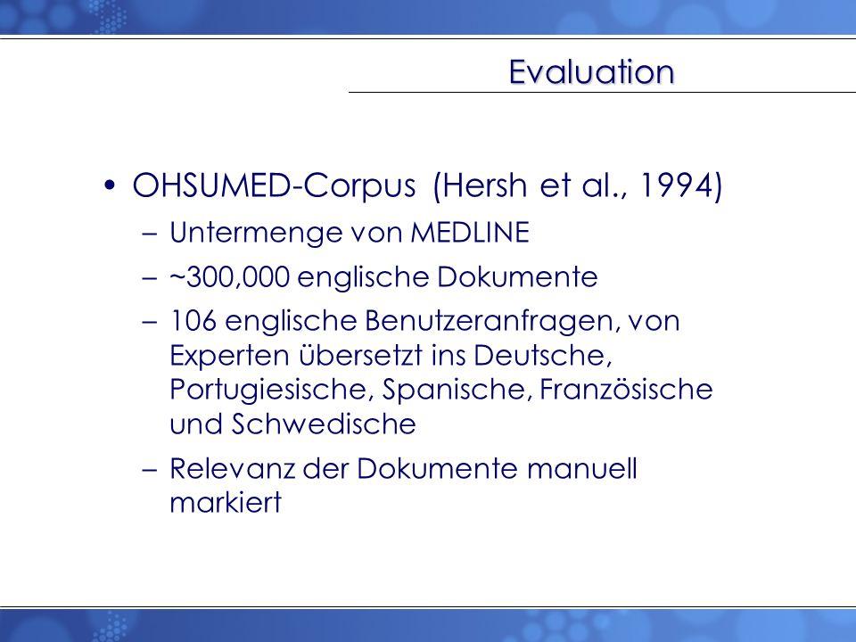 Evaluation OHSUMED-Corpus (Hersh et al., 1994) –Untermenge von MEDLINE –~300,000 englische Dokumente –106 englische Benutzeranfragen, von Experten übe