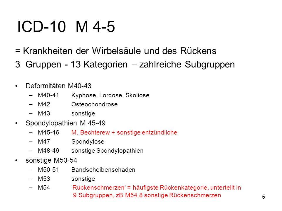 5 ICD-10 M 4-5 = Krankheiten der Wirbelsäule und des Rückens 3 Gruppen - 13 Kategorien – zahlreiche Subgruppen Deformitäten M40-43 –M40-41 Kyphose, Lo