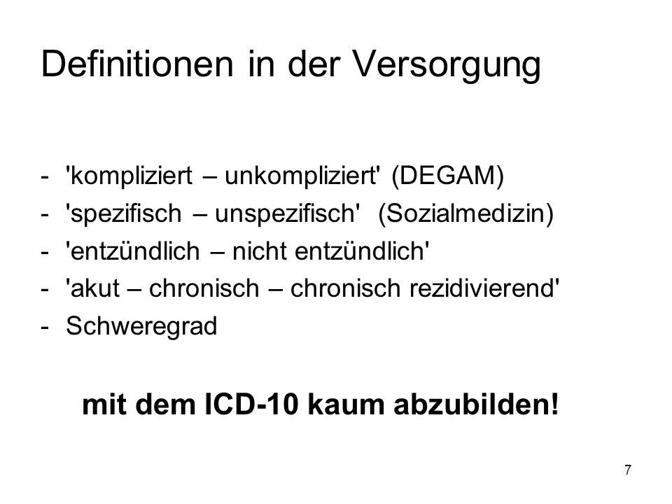 7 Definitionen in der Versorgung -'kompliziert – unkompliziert' (DEGAM) -'spezifisch – unspezifisch' (Sozialmedizin) -'entzündlich – nicht entzündlich