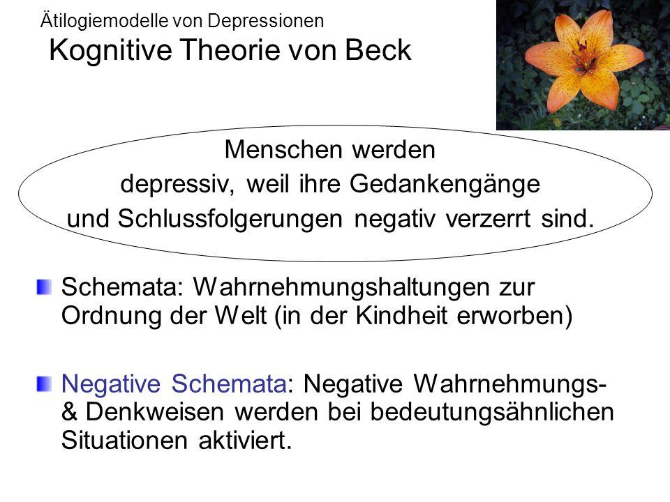 Ätilogiemodelle von Depressionen Kognitive Theorie von Beck Menschen werden depressiv, weil ihre Gedankengänge und Schlussfolgerungen negativ verzerrt sind.