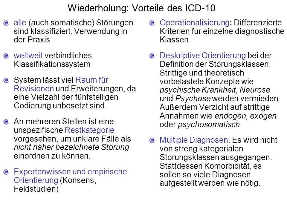 Wiederholung: Vorteile des ICD-10 alle (auch somatische) Störungen sind klassifiziert, Verwendung in der Praxis weltweit verbindliches Klassifikationssystem System lässt viel Raum für Revisionen und Erweiterungen, da eine Vielzahl der fünfstelligen Codierung unbesetzt sind.