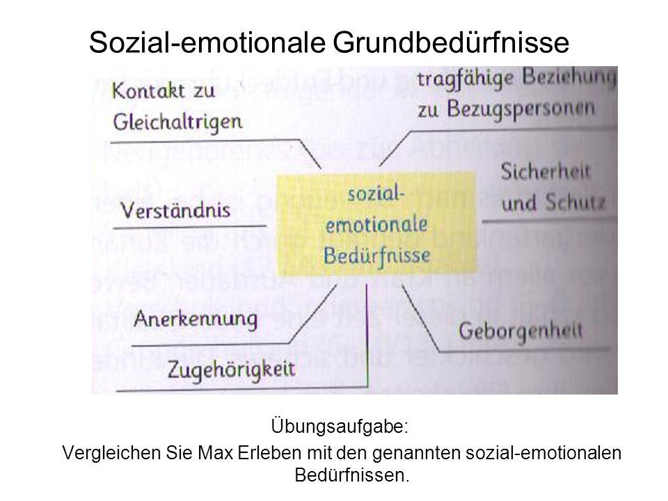 Sozial-emotionale Grundbedürfnisse Übungsaufgabe: Vergleichen Sie Max Erleben mit den genannten sozial-emotionalen Bedürfnissen.