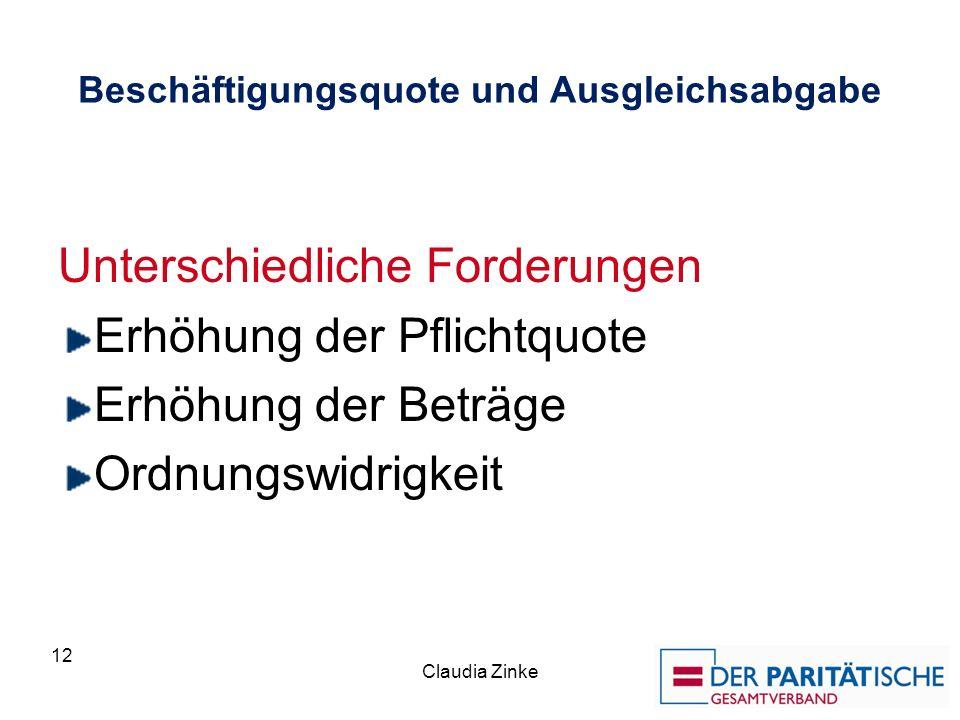 Beschäftigungsquote und Ausgleichsabgabe Unterschiedliche Forderungen Erhöhung der Pflichtquote Erhöhung der Beträge Ordnungswidrigkeit Claudia Zinke