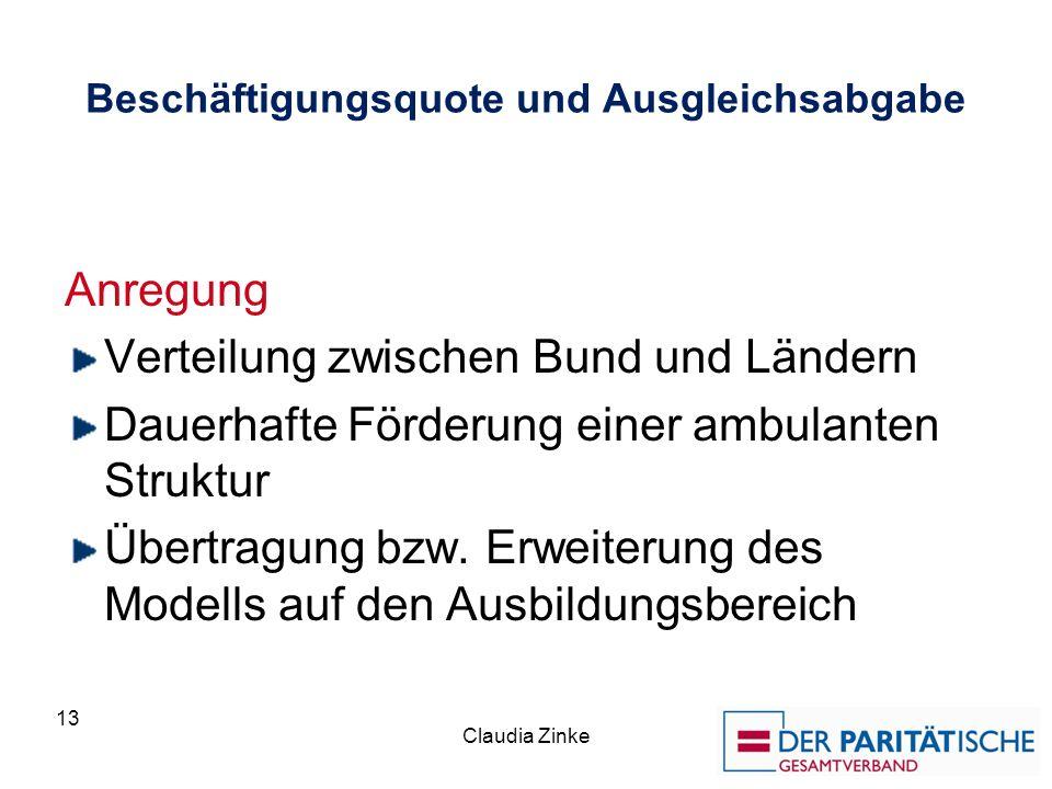 Beschäftigungsquote und Ausgleichsabgabe Anregung Verteilung zwischen Bund und Ländern Dauerhafte Förderung einer ambulanten Struktur Übertragung bzw.