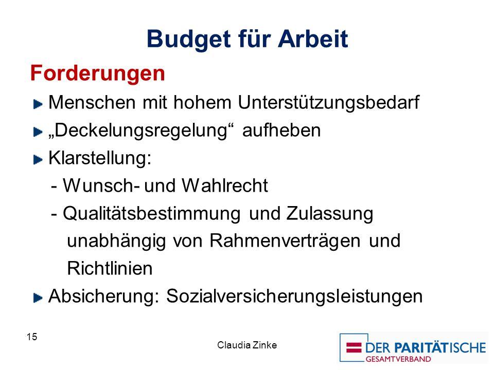 Budget für Arbeit Forderungen Menschen mit hohem Unterstützungsbedarf Deckelungsregelung aufheben Klarstellung: - Wunsch- und Wahlrecht - Qualitätsbes