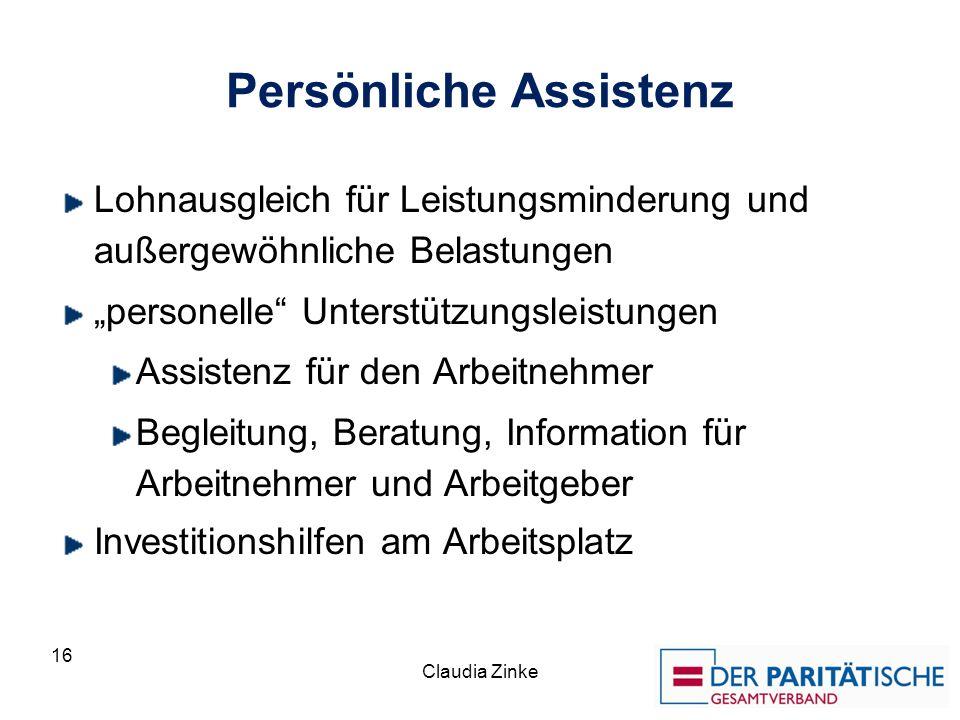 Persönliche Assistenz Lohnausgleich für Leistungsminderung und außergewöhnliche Belastungen personelle Unterstützungsleistungen Assistenz für den Arbe