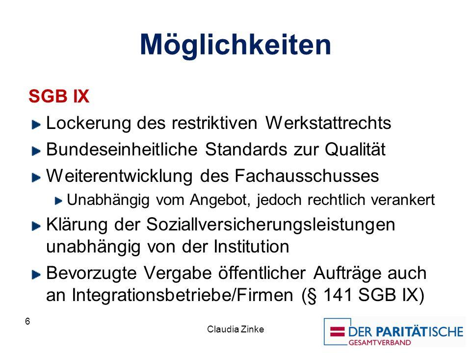 Möglichkeiten SGB IX Lockerung des restriktiven Werkstattrechts Bundeseinheitliche Standards zur Qualität Weiterentwicklung des Fachausschusses Unabhä