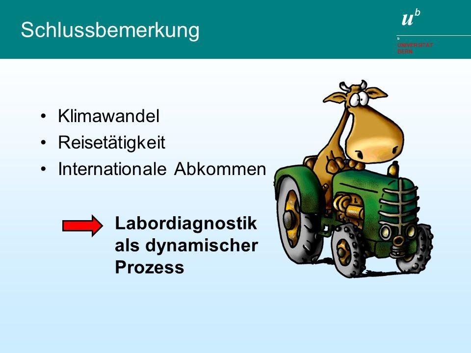 ubub b UNIVERSITÄT BERN Schlussbemerkung Klimawandel Reisetätigkeit Internationale Abkommen Labordiagnostik als dynamischer Prozess