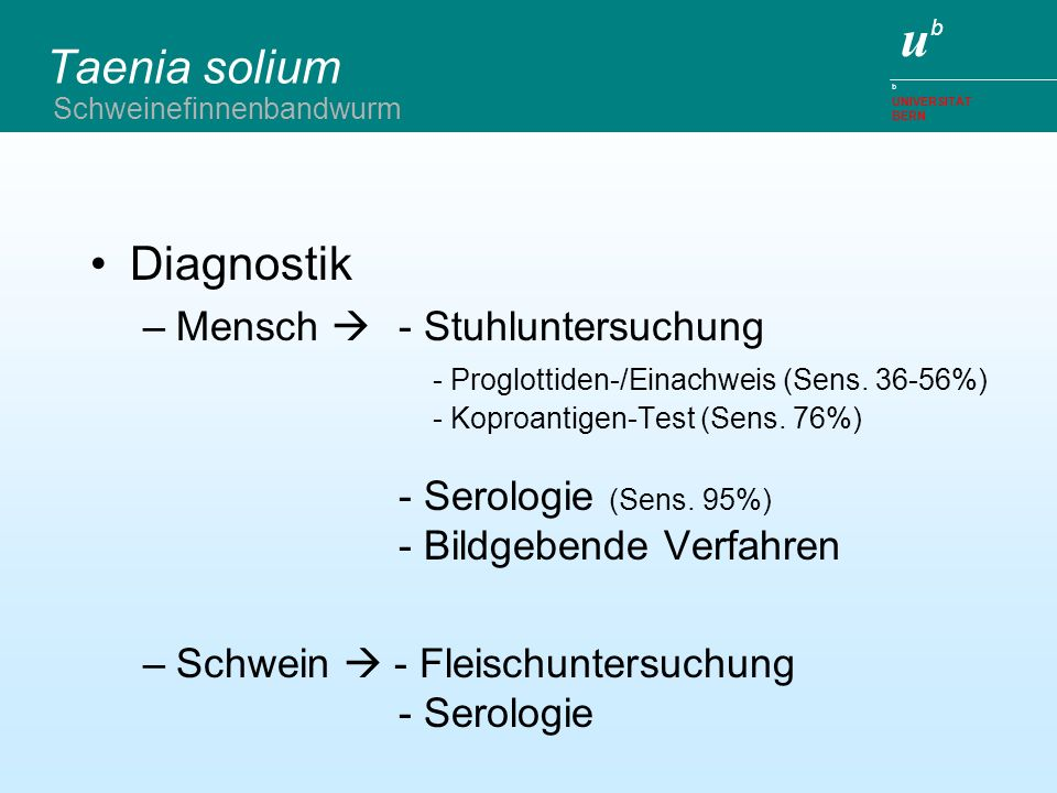ubub b UNIVERSITÄT BERN Taenia solium Diagnostik –Mensch - Stuhluntersuchung - Proglottiden-/Einachweis (Sens. 36-56%) - Koproantigen-Test (Sens. 76%)