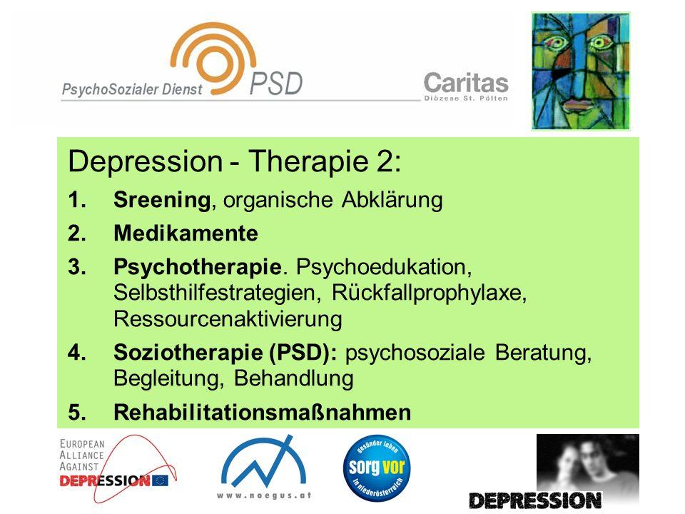Depression - Therapie 2: 1.Sreening, organische Abklärung 2.Medikamente 3.Psychotherapie. Psychoedukation, Selbsthilfestrategien, Rückfallprophylaxe,