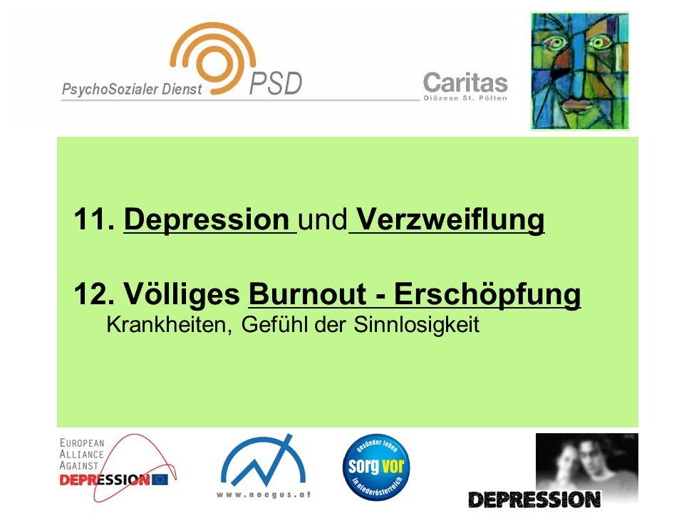 11. Depression und Verzweiflung 12. Völliges Burnout - Erschöpfung Krankheiten, Gefühl der Sinnlosigkeit