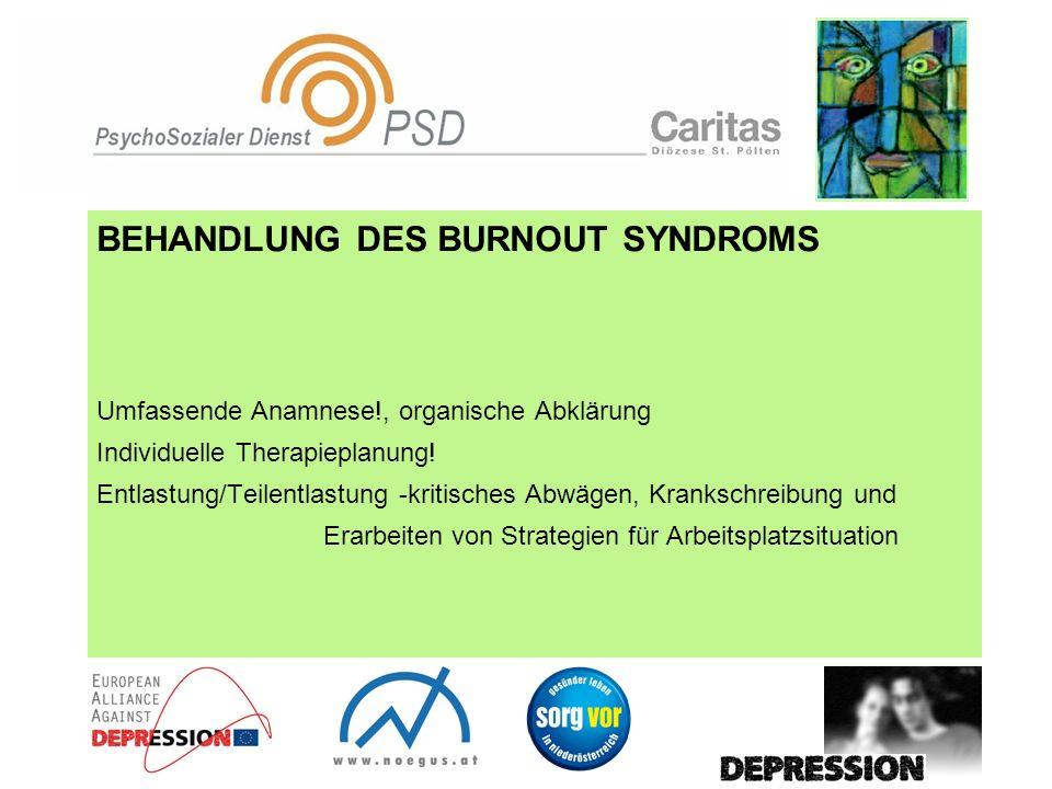 BEHANDLUNG DES BURNOUT SYNDROMS Umfassende Anamnese!, organische Abklärung Individuelle Therapieplanung! Entlastung/Teilentlastung -kritisches Abwägen