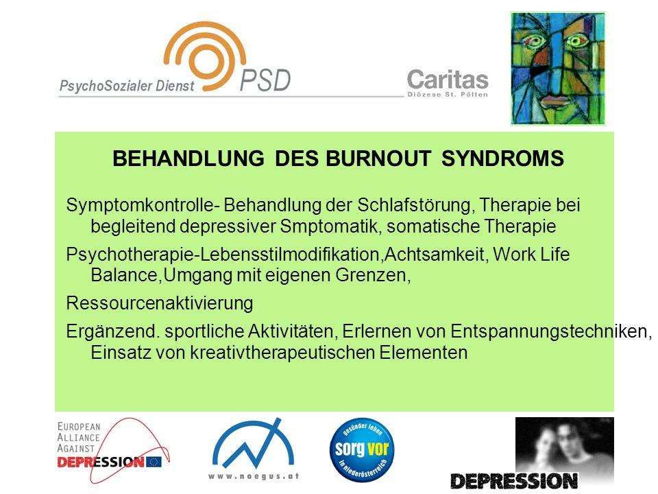 BEHANDLUNG DES BURNOUT SYNDROMS Symptomkontrolle- Behandlung der Schlafstörung, Therapie bei begleitend depressiver Smptomatik, somatische Therapie Ps