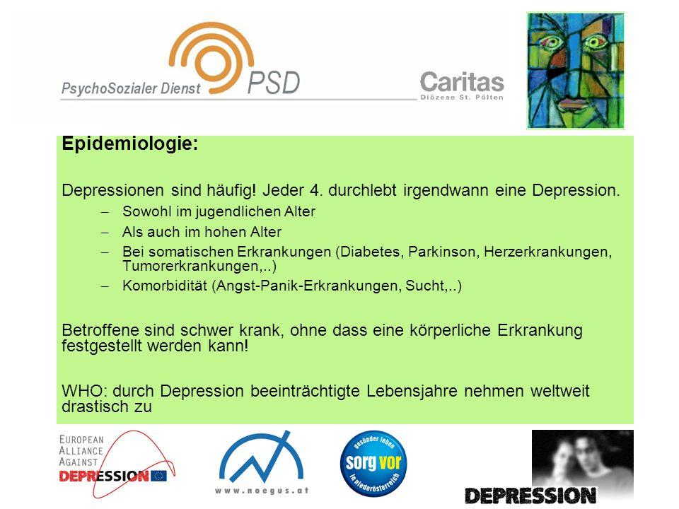 Epidemiologie: Depressionen sind häufig! Jeder 4. durchlebt irgendwann eine Depression. – Sowohl im jugendlichen Alter – Als auch im hohen Alter – Bei