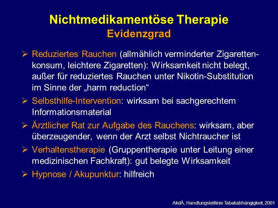 Nichtmedikamentöse Therapie Evidenzgrad Reduziertes Rauchen (allmählich verminderter Zigaretten- konsum, leichtere Zigaretten): Wirksamkeit nicht bele