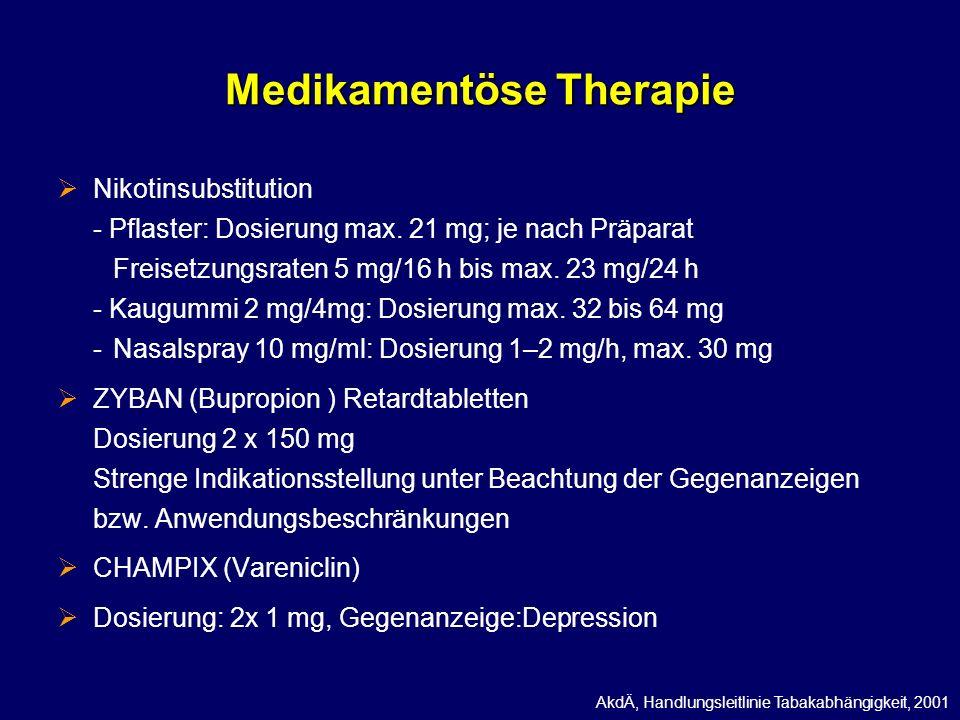 Medikamentöse Therapie Nikotinsubstitution - Pflaster: Dosierung max. 21 mg; je nach Präparat Freisetzungsraten 5 mg/16 h bis max. 23 mg/24 h - Kaugum