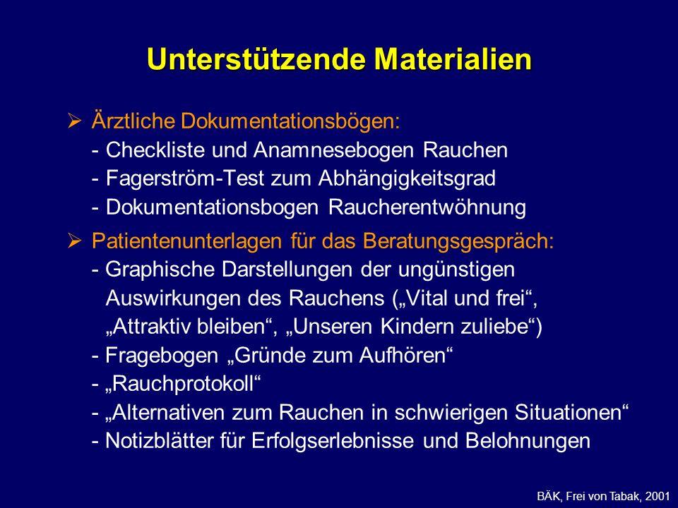 Ärztliche Dokumentationsbögen: -Checkliste und Anamnesebogen Rauchen -Fagerström-Test zum Abhängigkeitsgrad -Dokumentationsbogen Raucherentwöhnung Pat