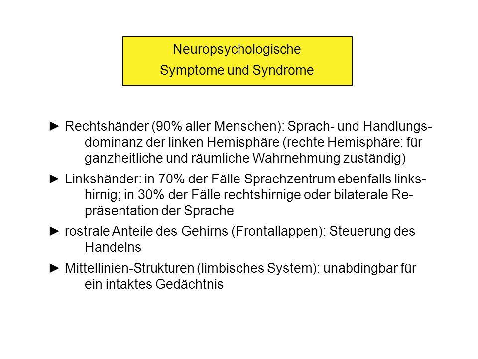 Neuropsychologische Symptome und Syndrome Rechtshänder (90% aller Menschen): Sprach- und Handlungs- dominanz der linken Hemisphäre (rechte Hemisphäre:
