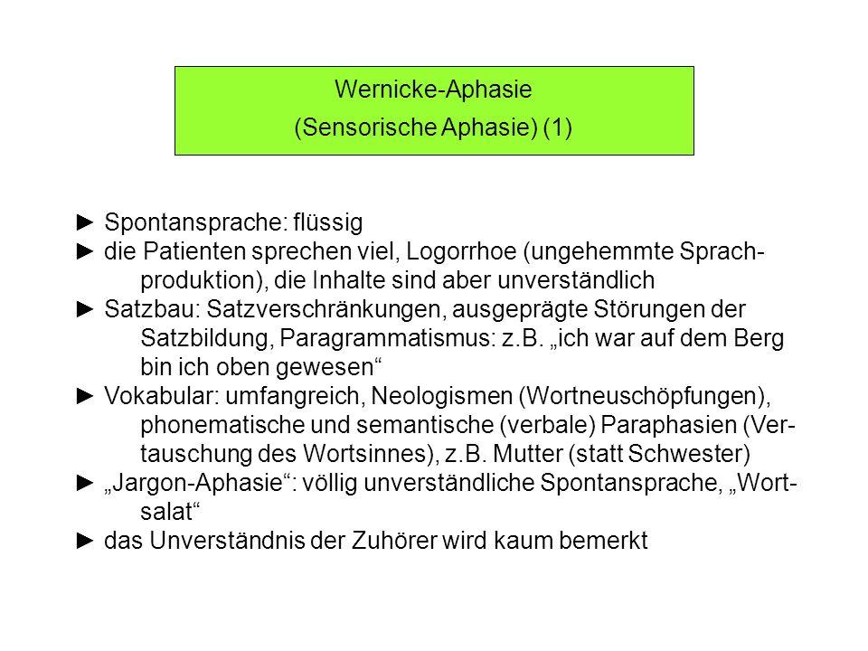 Wernicke-Aphasie (Sensorische Aphasie) (2) Sprachverständnis: schwer gestört Nachsprechen: nicht möglich Schreiben und Lesen: nicht sinnvoll möglich DD: Verwirrtheitszustand, akute Psychose Prognose: weniger günstig als jene der motorischen Aphasie