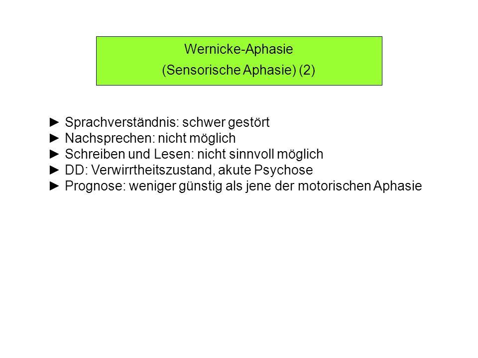 Wernicke-Aphasie (Sensorische Aphasie) (2) Sprachverständnis: schwer gestört Nachsprechen: nicht möglich Schreiben und Lesen: nicht sinnvoll möglich D