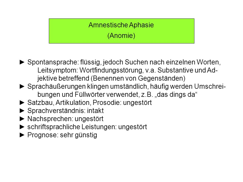 Amnestische Aphasie (Anomie) Spontansprache: flüssig, jedoch Suchen nach einzelnen Worten, Leitsymptom: Wortfindungsstörung, v.a. Substantive und Ad-