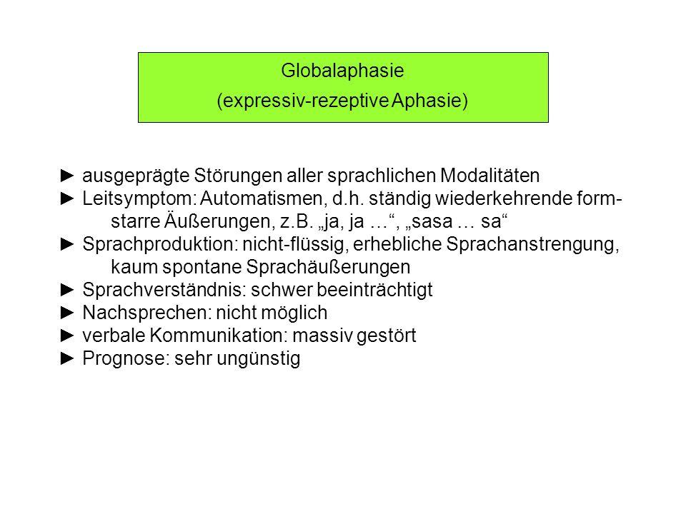 Globalaphasie (expressiv-rezeptive Aphasie) ausgeprägte Störungen aller sprachlichen Modalitäten Leitsymptom: Automatismen, d.h. ständig wiederkehrend