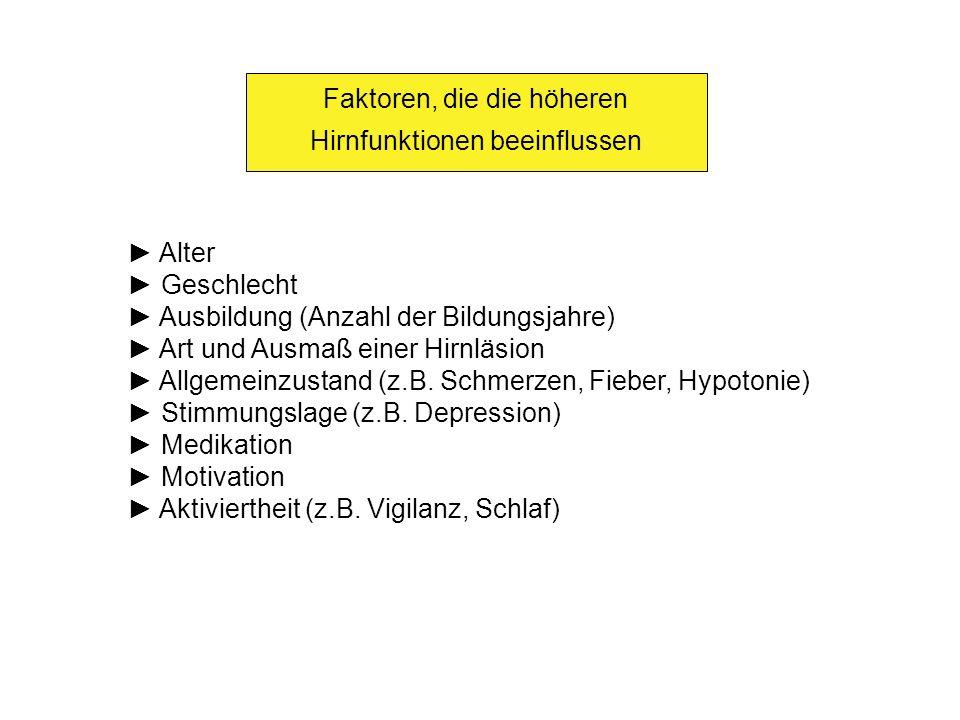 Faktoren, die die höheren Hirnfunktionen beeinflussen Alter Geschlecht Ausbildung (Anzahl der Bildungsjahre) Art und Ausmaß einer Hirnläsion Allgemein