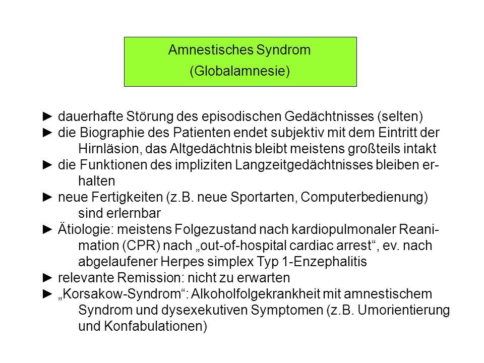 Amnestisches Syndrom (Globalamnesie) dauerhafte Störung des episodischen Gedächtnisses (selten) die Biographie des Patienten endet subjektiv mit dem E