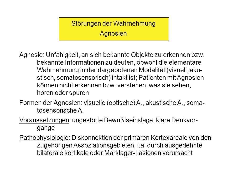 Störungen der Wahrnehmung Visuelle (optische) Agnosien (1) Definition: Störung des visuellen Erkennens und Benennens trotz (weitgehend) intakter Sehleistung Ursachen: Läsionen sekundärer oder höherer visueller Assoziations- felder im okzipitalen bzw.