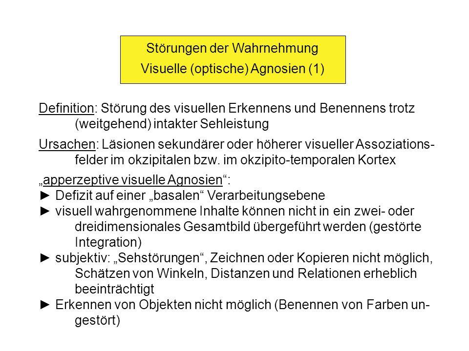 Störungen der Wahrnehmung Visuelle (optische) Agnosien (2) assoziative visuelle Agnosie: Extraktion charakteristischer Merkmale und Integration der Einzel- inhalte zu einem zwei- oder dreidimensionalen Gesamtbild möglich jedoch: gestörte Verknüpfung des Gesamtbildes mit dem Wissen betreffend das Aussehen des Objekts Zeichnen, Kopieren möglich, Formen können unterschieden wer- den Objekte sind aber weder erkennbar noch beschreibbar