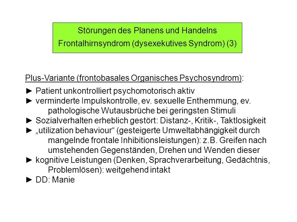 Störungen des Planens und Handelns Frontalhirnsyndrom (dysexekutives Syndrom) (3) Plus-Variante (frontobasales Organisches Psychosyndrom): Patient unk