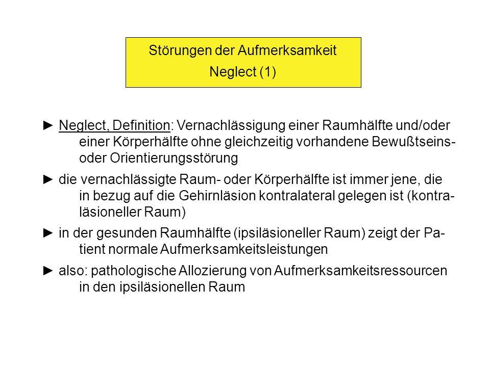 Störungen der Aufmerksamkeit Neglect (1) Neglect, Definition: Vernachlässigung einer Raumhälfte und/oder einer Körperhälfte ohne gleichzeitig vorhande