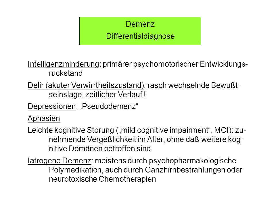 Demenz Differentialdiagnose Intelligenzminderung: primärer psychomotorischer Entwicklungs- rückstand Delir (akuter Verwirrtheitszustand): rasch wechse