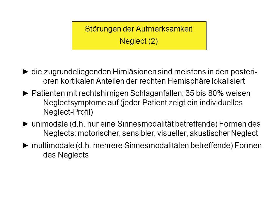 Störungen der Aufmerksamkeit Neglect (2) die zugrundeliegenden Hirnläsionen sind meistens in den posteri- oren kortikalen Anteilen der rechten Hemisph
