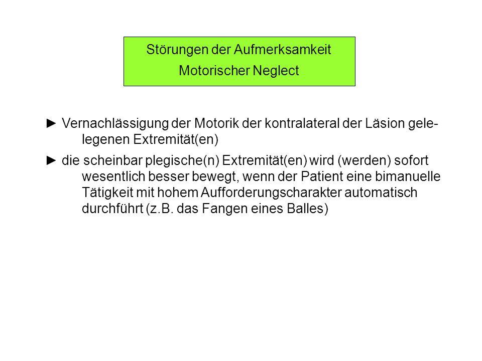 Störungen der Aufmerksamkeit Motorischer Neglect Vernachlässigung der Motorik der kontralateral der Läsion gele- legenen Extremität(en) die scheinbar