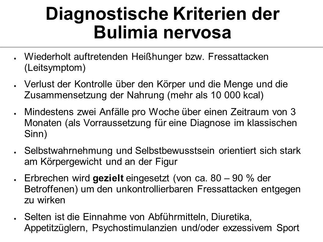 Diagnostische Kriterien der Bulimia nervosa Wiederholt auftretenden Heißhunger bzw.