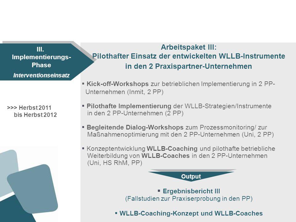 Arbeitspaket IV: Formative + summative Evaluation der Implementierung in den 2 Praxispartner-Unternehmen Begleitende formative Evaluation des Umsetzungsprozesses in den 2 PP-Unternehmen (Uni, PP) Summative Evaluation mittels Ex-Post-Online-Befragung in den 2 PP-Unternehmen (Inmit, PP) Bilanz-Workshops mit den 2 PP-Unternehmen (HS RhM, PP) Ergebnisbericht IV (Evaluationsergebnisse zur betrieblichen Implementierung der WLLB-Instrumente) >>> Ende 2012 bis Anfang 2013 IV.